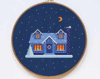 Home Cross Stitch Pattern, Christmas Cross Stitch Pattern, Winter Home Modern Cross Stitch Pattern, PDF Format, Instant Download