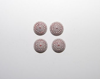 4 PCs./12mm  vintage etched mosaic cabochons /  Red - Brown - White / flat back   MC021