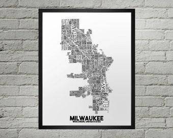 Milwaukee Wisconsin Neighborhood Typography City Map Print