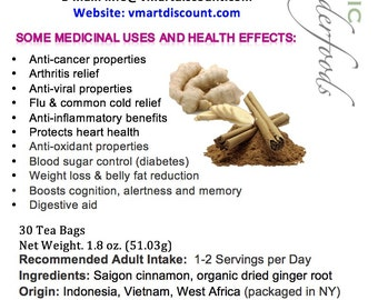 Simply Natural 100% Organic Ginger Root Cinnamon Herbal Tea (30 Bags)