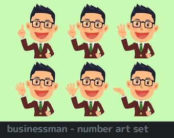 businessman - number art set 2