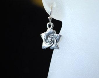 Rose Earrings -- Silver Roses, Sterling Silver