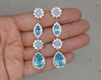 Aquamarine Earrings Long Bridal Earrings Swarovski Blue Crystal Jewelry for Brides, Rose Gold Wedding Earrings, something blue