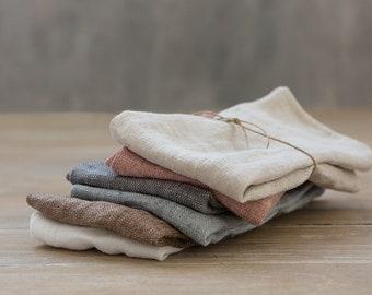 Linen Napkins-Washed Linen Napkins in White color 16.5''x16.5''(42x42cm) Set of 4-6-8-10. Exclusive washed linen napkins.