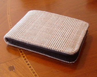 Men's  slim wallet brown houndstooth Cashmere wool wallet Standard size 7 pocket wallet