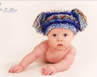 BABY BOY HAT - Crocheted Jester Hat With Tassels For Baby in Blue or Pink, Photography Prop