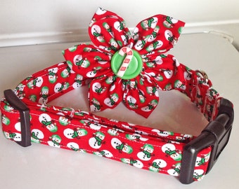 Red Christmas Snowman Collar for Dogs and Cats