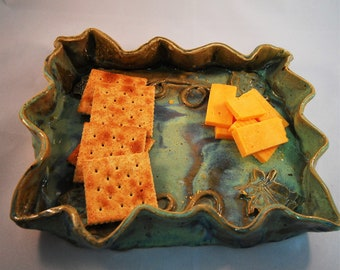 Ceramic Snack Tray, Pottery  Green And Brown Rectangle Tray, Pottery Serving Tray, Cheese Tray, Cracker Tray, Roses & Vines On Homemade Tray