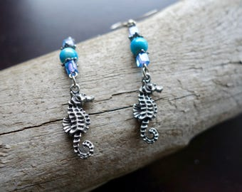 Seahorse Bead Earrings | Blue and Silver Dangles | Fish