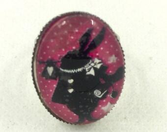 Adjustable ring Alice in Wonderland silver