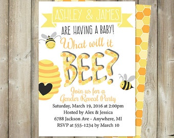 Bee Gender Reveal Party Invitation, Black and Yellow, Custom Colors, Digital File