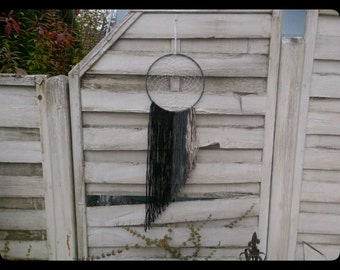 Boho Dreamcatcher rainfall in grey with yarn falls, wallhanging homedecor