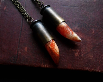 kissed by fire - fire agate necklace bullet necklace long layering necklace unisex jewelry witchy jewelry occult inspired jewelry