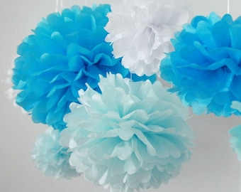 SALE - It's a Boy - 6 Tissue Paper Pom Poms - Fast Shipping -  for Baby Shower / Birthday Party / Wedding / Room Decoration