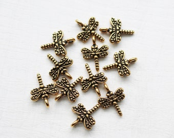DragonFly Charms Antique Gold Jewelry Supply Pewter Charm Earthy Charm Nature Charm Insect Charm High Quality 001TCA