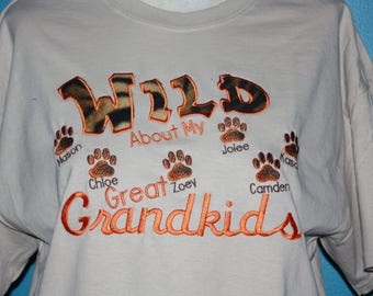 Great Grandparents tshirt - Wild about my Great grandkids embroidered tshirt - custom Great grandma t-shirt