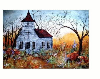 "Giclee Fine Art Print By Douglas Wyoming Artist Joyce Lee  "" The Old Country Church """