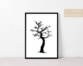 Printable Wall Art | Home Decor Printable | Nature Print | Creepy Tree