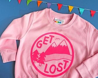 Kids Sweatshirt, Get Lost Funny Kids Sweater, Pink Kids Sweater, Adventure Sweatshirt Girls, Explorer Childs Jumper, Fun Kids Clothes