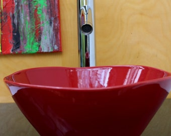 """10in 10"""" Small Gloss Red Ceramic Porcelain Bathroom Vessel Sink Free Form"""