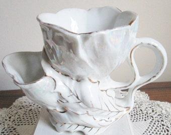 Antique Pearlized Shaving Mug, German Pearlized Shaving Mug, Father's Day Gift, Pearlized with Gold Trim, Signed Shaving Mug, Collector