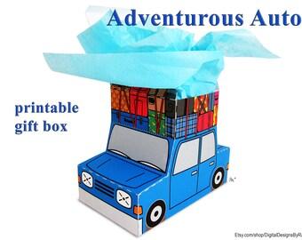Adventurous Auto Gift Box printable favor/treat box