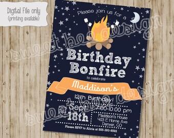 Bonfire Birthday Invitation, Campfire Birthday Invitation, Campout Birthday Invitation, Boy Birthday Invitation, Girl Birthday Invitation