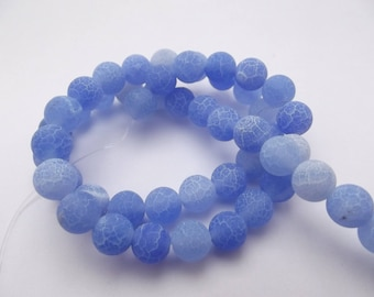48 8 LIK-230 mm frosted blue agate smooth round beads