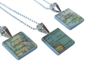 Square Map Necklace Vintage Personalized Atlas Sterling Silver