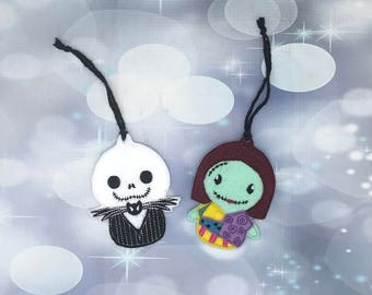 Jack and Sally Ornaments, Christmas Ornaments, Holiday Ornaments, Christmas tree ornaments