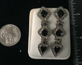 Vintage Sterling Silver Onyz Drop Earrings - AB