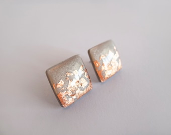 Gray and copper flakes Square Stud Earrings - Hypoallergenic Surgical Steel Post