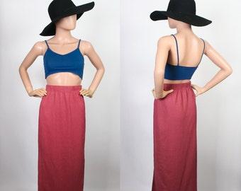 Vintage 90s Ribbed Knit Midi Skirt / 1990s Maxi Skirt / Jersey Stretch Cotton / Cable Knit / Blush Mauve Pink / Small / Medium