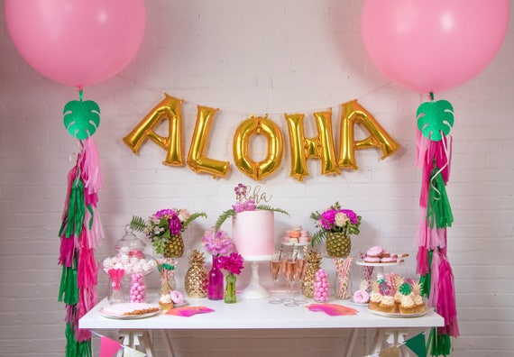 Aloha Balloon Banner Aloha Theme Party Decor Gold Foil Balloons
