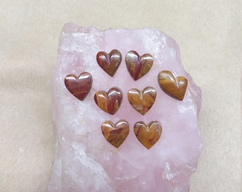 35% OFF Small Blood Onyx Heart Cabochon Set/ Set of 8/ backed/ seconds
