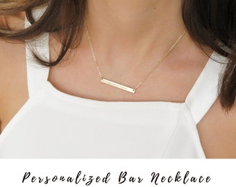 Bar Necklace, Personalized bar Necklace,Gold bar Necklace, Engraved Bar Necklace, Engraved Necklace, Customized bar necklace,Coordinates bar