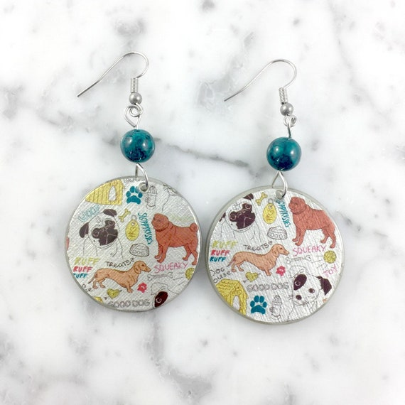 Resin earrings, dog, handmade, pug, carlin, dog earring, lovely puppy, brown, background, hypoallergenic hook