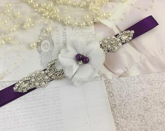 White and plum belt, flower girl belt, white flower belt, bridesmaid belt, wedding sash, sash belt, crystal rhinestone belt, dress belt