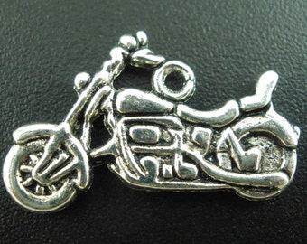 8 Motorcycle Charms, 2 Sided, Antique Silver Tone (1K-225)