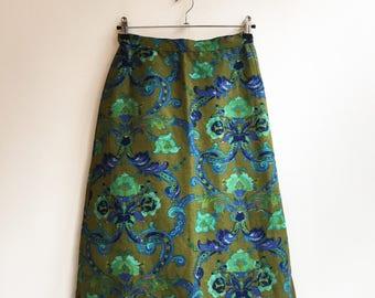 vintage floral cotton hippie boho flower skirt S/M
