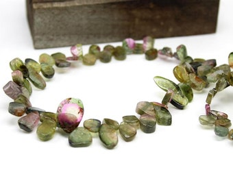 Watermelon tourmaline smooth slice necklace | Genuine tourmaline necklace | tourmaline sterling silver necklace | October birthstone:- TN2