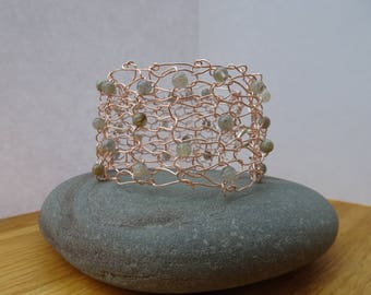 Knitted wire cuff/bracelet, rose gold wire, labradorite, accessory, one of a kind