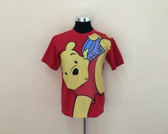 Vintage Disney Pooh Cartoon Thick T-Shirt Nice Design