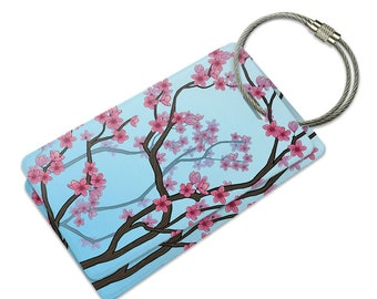 Cheery Cherry Blossoms Suitcase Bag Id Luggage Tag Set