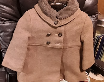 Vintage Baby Boys Wool Coat with Faux Fur..Excellent Condition..1940's