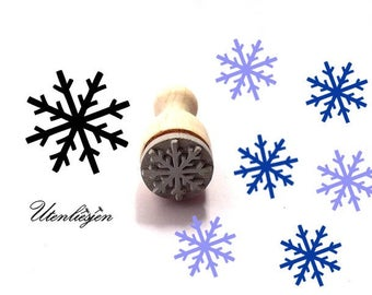 Stamp mini, snowflake 5, snow, winter, christmas, rubber stamp Ø 11 mm
