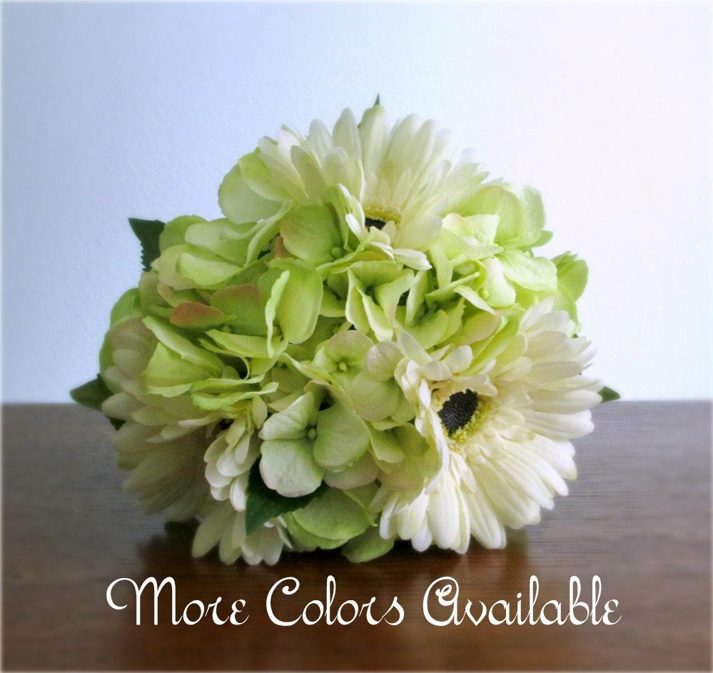 Ivory gerbera daisy light lime green hydrangea bouquet silk zoom mightylinksfo