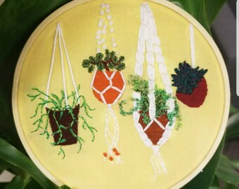 Earth Day Hanging Planters Embroidery (Customizable)