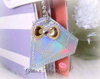 Iridescent Diamond Planner Charm, Traveler's Notebook Charm, Purse Charms, Planner Charms, Key Chain, Journal Charm