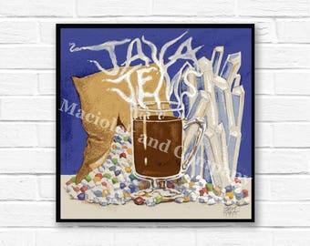 Zen, Crystals, Coffee, Photo, Meditation, Wall Art, Java Jems, instant download, digital print, digital art, office art, 8x8